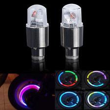 2 X Neon LED Lamp Flash Tyre Wheel Valve Cap Light For Car Bike Bicycle Motor FS