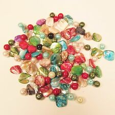 100 PCS Assorted Colors Mother of Pearl Shell Glass Pearl Craft Jewelry Beads