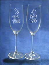 Beauty and the Beast Wedding Glasses Flutes Engraving Personalized   NEW Belle