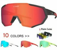 2019 Polarized Cycling Glasses 5 Lens Road Sport MTB Mountain Bicycle Sunglasses