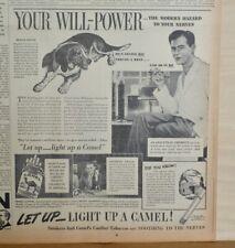 1938 newspaper ad for Camel Cigarettes - Give Nerves A Rest, Beagle hound does