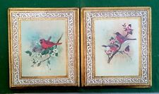 Vintage Set Of 2 Italian Florentine Wall Plaque Picture Birds Cardinal