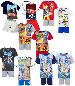 Schlafanzug Pyjama kurzärmlig Star Wars Paw Patrol Avengers Baumwolle Kinder Neu