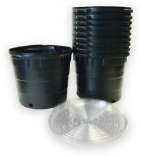 Plastic Nursery Pots Saucers 10 Pack 10 Gal Round Soil Growing Handling Durable