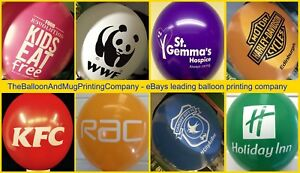 """100 Custom Printed 10""""  Personalised Latex Balloons logo or text -helium quality"""