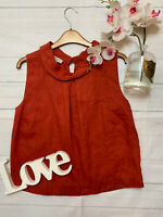 Hobbs Size 8 orange flax linen vest top summer smock top cool holiday loose fit