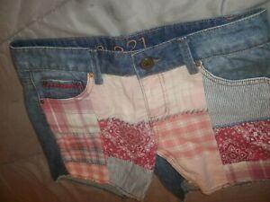 Rue 21 rue21 Girl's Patchwork Denim Shorts Size 7 (B71)
