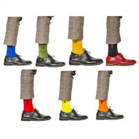 7 Pairs Mens Combed Cotton Socks Lot Classic Solid Color Casual Dress Week Socks