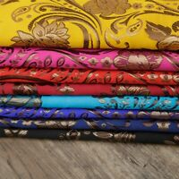 Chinese Brocade Damask Fabric Floral Jacquard Dress Costume Material Trims Cloth
