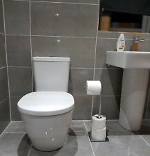 CHROME FREE STANDING SWIVEL TOILET LOO PAPER ROLL HOLDER  AND STORAGE QUALITY