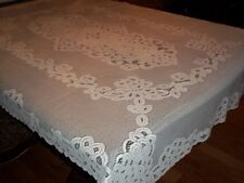 LACE TABLECLOTH WHITE 52 X 70 FLORAL DESIGN TABLE FINE DINING POLYESTER WTC