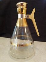 Vintage Glass Coffee Carafe Decanter Mid Century Inland Gold Stripes Retro 1950