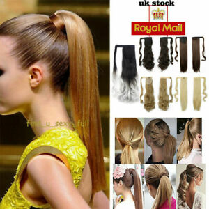 Good Price Real As Human Wrap Around Ponytail Clip In On Hair Extensions UK New