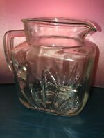 """Vintage Clear Glass Pitcher Small Pattern Glass with Handle 5 1/2"""""""