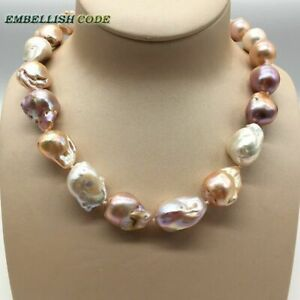 Mixed Color Nucleated Flame Ball Shape Baroque Pearl Necklace 100%natural Pearls