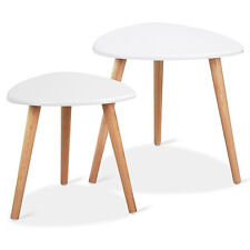 Set of 2 Wood Nesting Accent End Tables Sofa Side Table Coffee Tea Table White