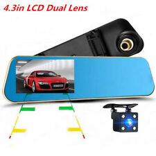 Dual Lens Car DVR Rearview Mirror 1080P 4.3 Monitor Video Recorder Backup Camera
