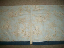 "Custom Kids Pine Creek Bedding Toile (1) Valance  15x44"" Blue Tan Pleated Lined"