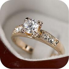 18K ROSE GOLD GP SIMULATED DIAMOND ENGAGEMENT WEDDING RING US 6 UK AU M