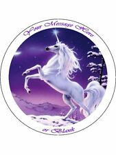 """Personalised Mystical Unicorn (purple)  7.5"""" Edible Wafer Paper Cake Topper"""