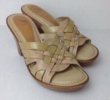 Women's Nurture Cream Beige Leather Myla Size 7 Beechwood Heels EUC
