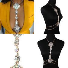 Luxury Rhinestone Crystal Gem Pendant Harness Body Chain Bikini Necklace Jewelry