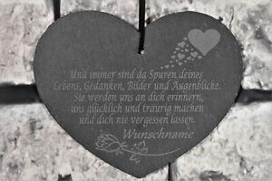 Schieferherz  Herz mit Spruch Wunschname Schiefer Grabstein Trauer Grabdeko Grab
