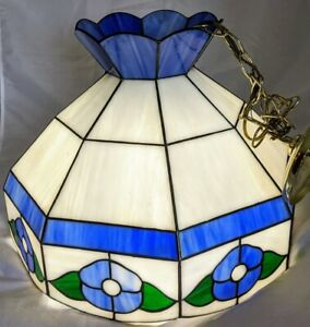 VTG Tiffany Style Hanging Light Fixture Chandelier Stained Glass Blue Flowers