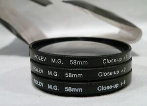 Set of 3 ROLEV MG 58mm FILTERS in CASE - 3 MACRO/CLOSE UP 58mm, +1,+2 ,+4