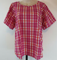 Ann Taylor Womens Size Large Short Flutter Sleeve Pink Plaid Top Shirt