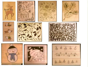 HERO ARTS CHRISTMAS WOODMOUNTED STAMPS 23 DESIGNS TO CHOOSE FROM