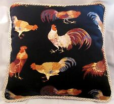 Cottage French Country Rooster Pillow Black Ivory Cushion Toile