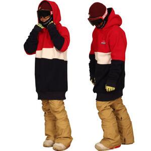 19-20 New December long tall hoodie ski snowboard zipper-POP MIX red and navy