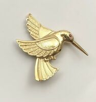 Vintage Style Hummingbird Pin Brooch In Enamel on metal with crystals
