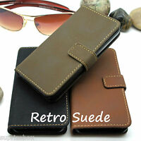 VINTAGE  RETRO SUEDE LEATHER LOOK WALLET STAND CASE COVER FOR IPHONE 5C