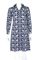 Vintage Dragon Print Thrones Medival Blue White Print Lace Up Dress S/M /8373