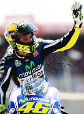 VALENTINO ROSSI Autograph SIGNED Large 16x12 Yamaha Photo AFTAL COA Fist Pump