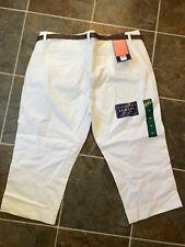 NWT BANDOLINO Women's Maureen Braided Belted Capri Pant White Sz 16