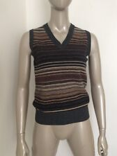 Dolce And Gabbana D G Striped Sweater Vest Top Gray Brown Wool Small