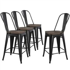 Metal Dining Chairs Bar Stools Solid Fir Wooden Surface Furniture Set of 4 Black
