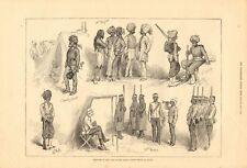 1878 ANTIQUE PRINT-Indian Native troops at Malte