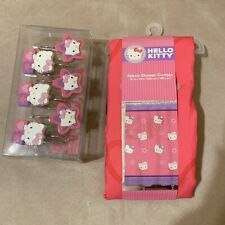 """New Hello Kitty Fabric Shower Curtain With 12 Hooks Pink Multicolor M 72"""" X 72"""""""