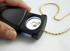 """10X Illuminated LED Pocket Slide Magnifier Handheld Loupe 1"""" Glass Lens"""