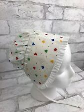 Vintage Toddler Girl Prairie Sun Bonnet Hat White with Multicolor Hearts