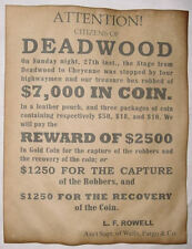 Wells, Fargo, & Co. Deadwood Robbery Reward Poster, old west, western, wanted