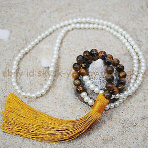 6mm White Shell Pearl & 8mm Multiple Gemstone Round Beads Tassel Long Necklace