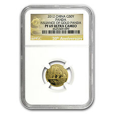 2012 China 1/10 oz Proof Gold Panda PF-69 NGC (30th Anniv) - SKU #74454