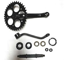 "Black 80cc gas engine motor bike - 3-pc wider pedal crank kit (1.25"" bearing cup"
