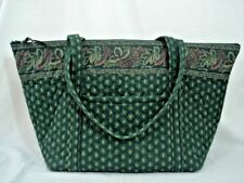 "Vera Bradley CLASSIC GREEN Shoulder Tote 15x14x8"" Gym Travel Diaper Bag Ret '00"