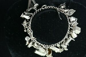 Antique Sterling Silver Charm Bracelet 42.5g Many Musical Instraments 99c NR